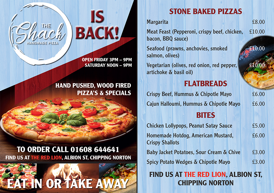 The Shack Stone Baked Pizzas